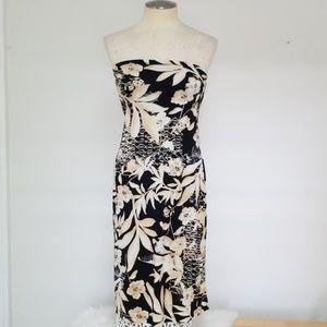 Strapless tropical print dress